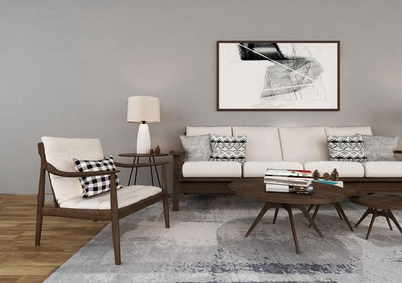 现代沙发茶几组合3D模型【ID:719742722】