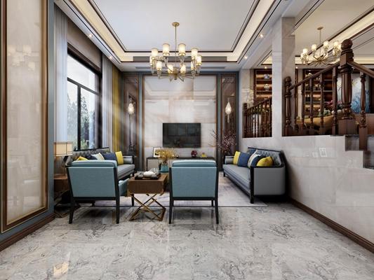 新中式别墅客厅餐厅厨房3D模型【ID:77103375】
