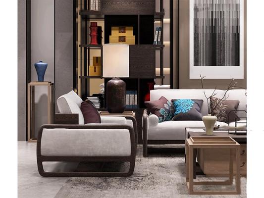 新中式沙发单椅书柜组合3D模型