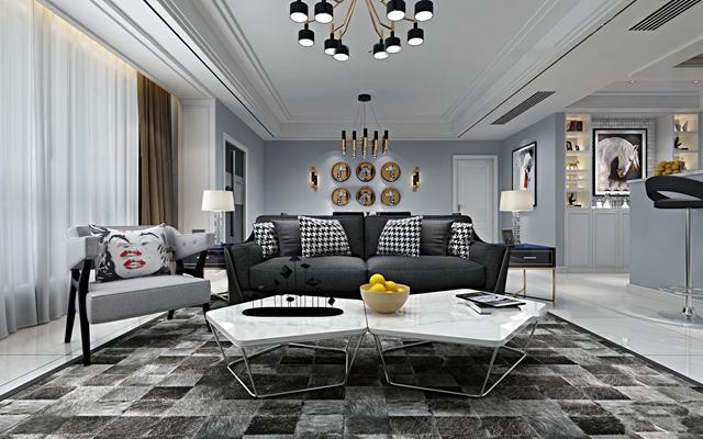中式客厅书房空间组合3D模型【ID:77106970】