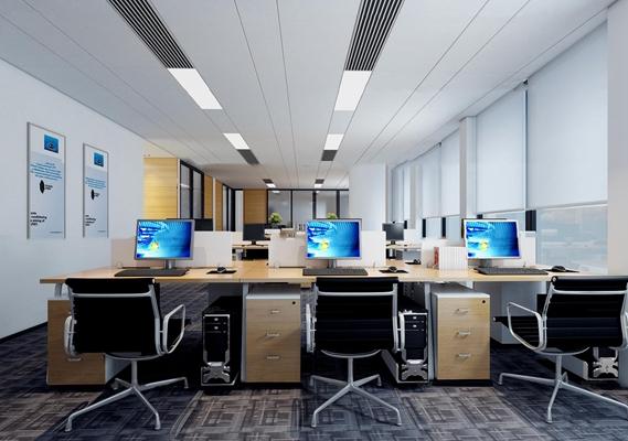 现代敞开式办公室3D模型【ID:77162255】