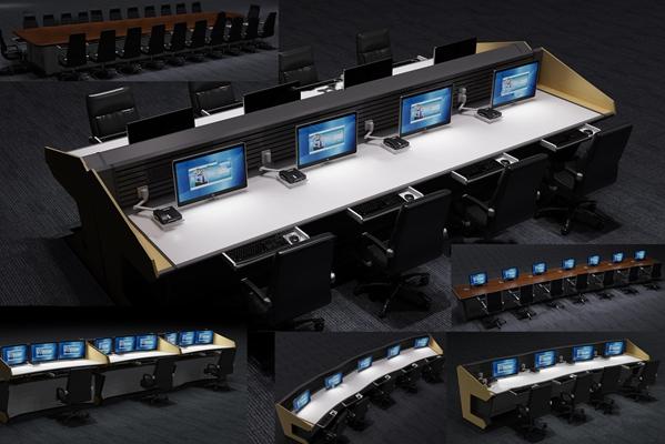 现代交通指挥中心办公桌椅组合3D模型【ID:77162259】