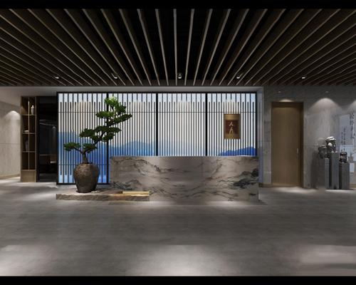 新中式办公前台接待区3D模型【ID:77162350】
