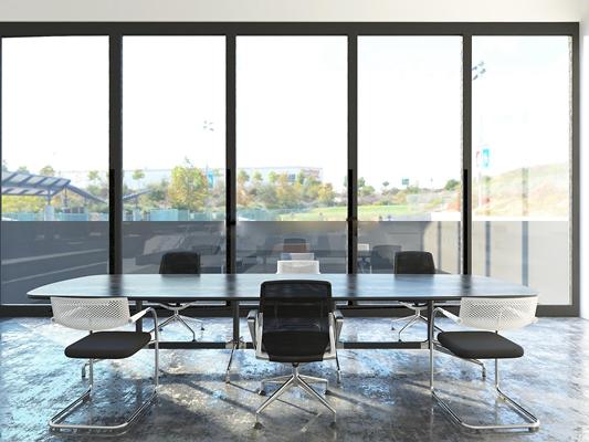 现代长形会议桌椅组合3D模型【ID:77162450】