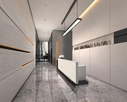现代前台走廊过道电梯厅组合3D模型【ID:77162456】