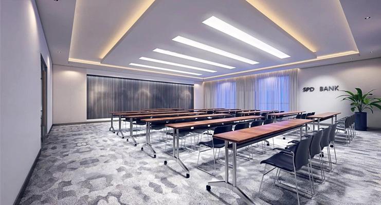 现代多功能会议室培训室3D模型【ID:77162459】