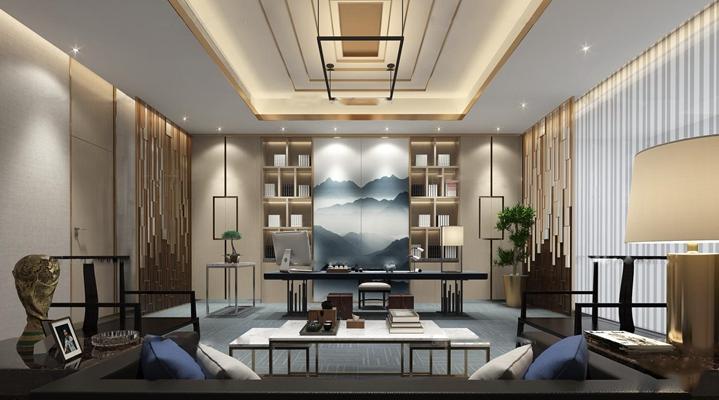 新中式总经理办公室3D模型【ID:77162655】