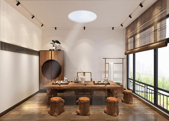 中式总经理办公室茶室组合3D模型【ID:77162850】