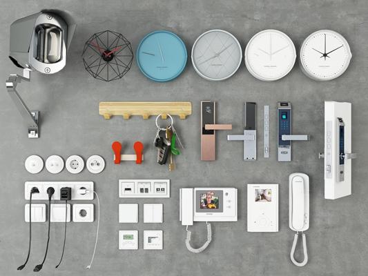 现代开关摄像头钟表插座电话组合3D模型【ID:77168131】
