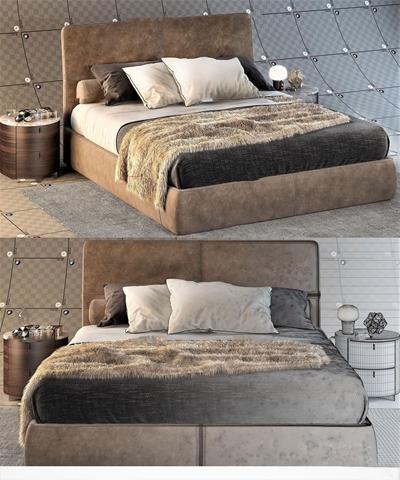 现代双人床床头柜组合3d模型【ID:77169304】