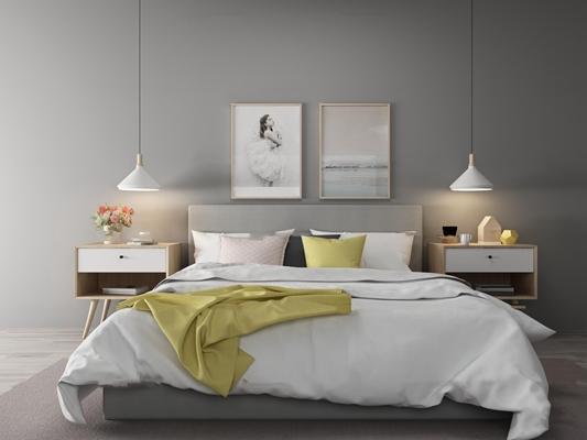 北欧双人床床具组合3D模型【ID:77169603】