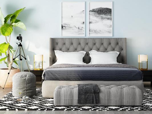 现代双人床床头柜组合3d模型【ID:77170404】