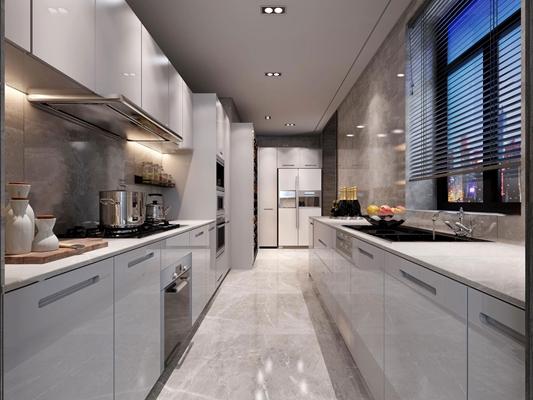 现代厨房橱柜3d模型【ID:77170638】