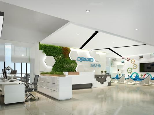 现代办公室前台3D模型【ID:77170769】