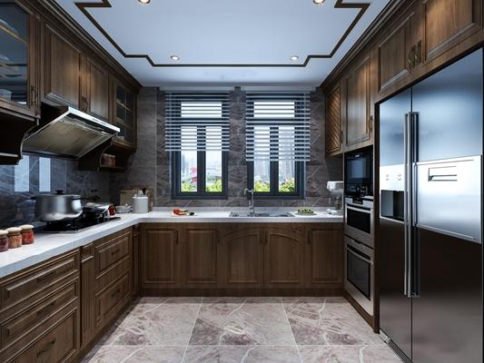 中式厨房橱柜3D模型【ID:77171232】