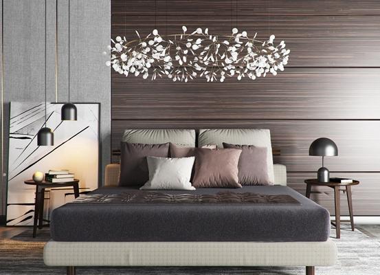 北欧卧室双人床吊灯组合3D模型【ID:77171502】