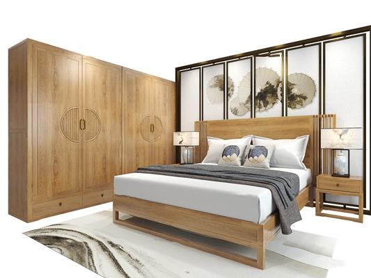 新中式实木双人床床头柜台灯衣柜组合3D模型【ID:77172400】