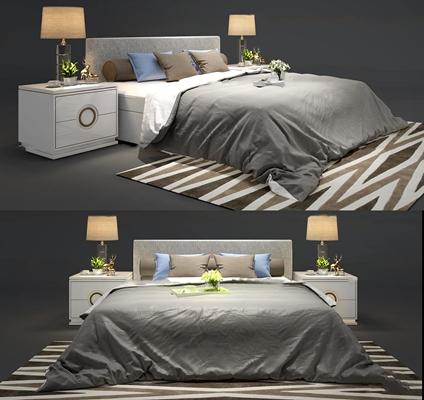 现代布艺双人床床头柜台灯组合3D模型【ID:77173004】