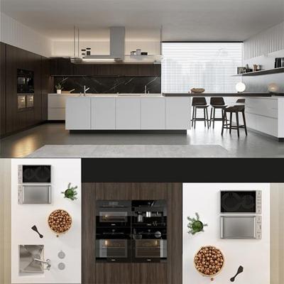 现代厨房橱柜厨具组合3d模型【ID:77173331】