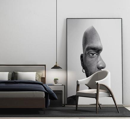 现代布艺双人床床头柜休闲椅吊灯装饰画组合3D模型【ID:77174608】