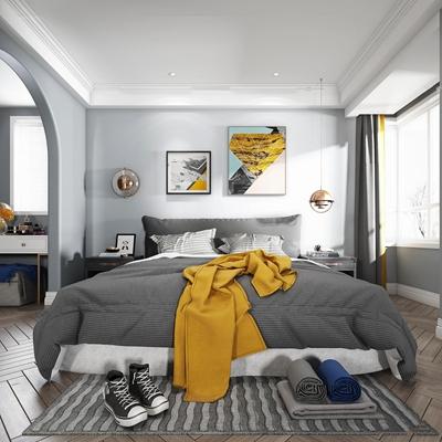 北欧双人床床头柜组合3D模型【ID:77174706】