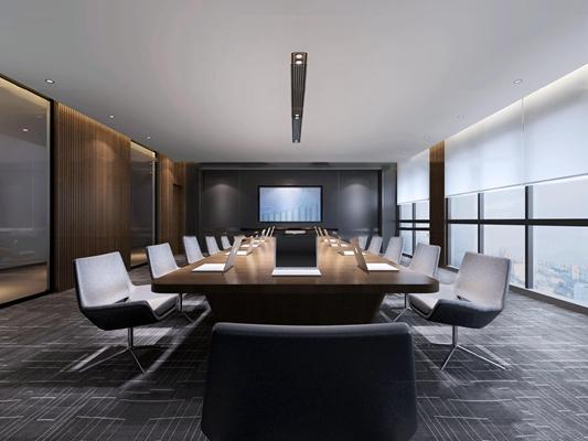 现代会议室3d模型【ID:77176486】