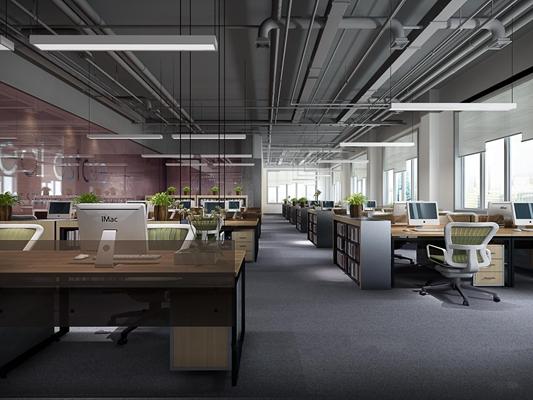 工业风敞开式办公区3d模型【ID:77176863】