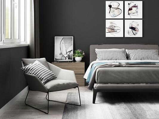北欧双人床边柜单椅组合3d模型【ID:77177202】