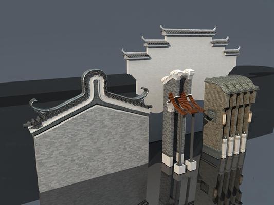 中式徽派马头墙构件3d模型【ID:77177688】