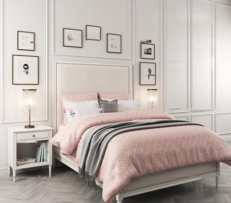 简欧布艺双人床床头柜台灯装饰画组合3D模型【ID:77178309】