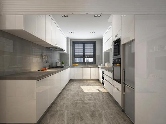 现代厨房橱柜3d模型【ID:77180130】