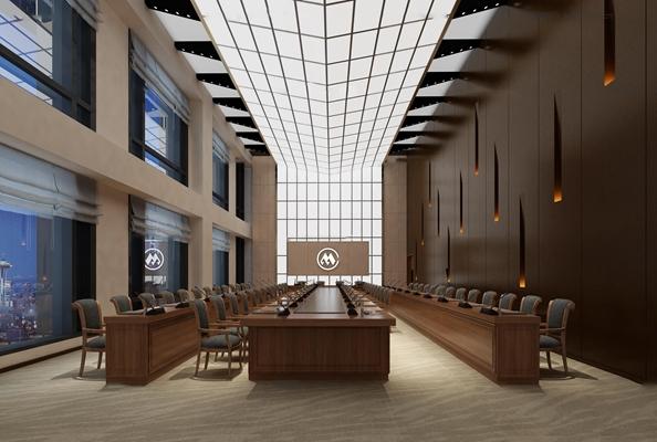 现代大会议室3D模型【ID:77180289】