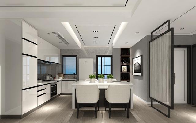 现代厨房橱柜3D模型【ID:77180331】