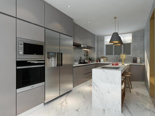 现代厨房橱柜中岛柜3D模型【ID:77180730】