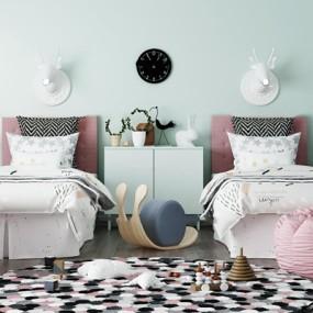 现代儿童床壁灯懒人沙发组合3D模型【ID:77181614】