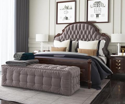 美式皮革双人床床头柜台灯脚榻组合3D模型【ID:77182201】