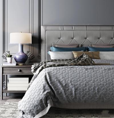 现代高级灰双人床床头柜组合3d模型【ID:77185502】