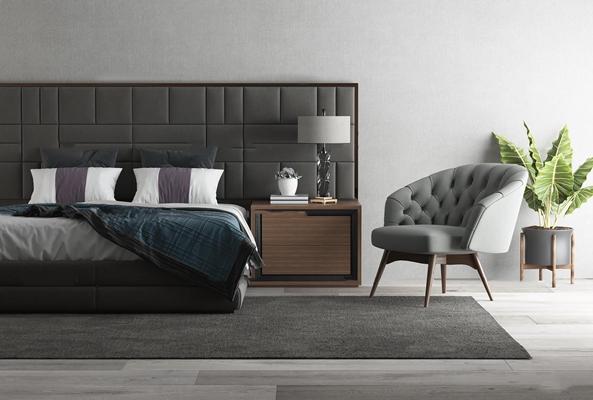 现代双人床床头柜组合3d模型【ID:77185803】