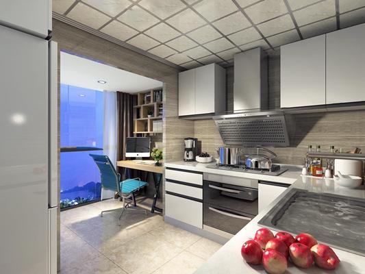 现代厨房3D模型【ID:77188931】