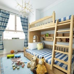 北欧儿童上下铺床3D模型【ID:77191219】
