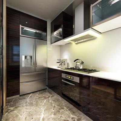 现代厨房3d模型【ID:77195435】