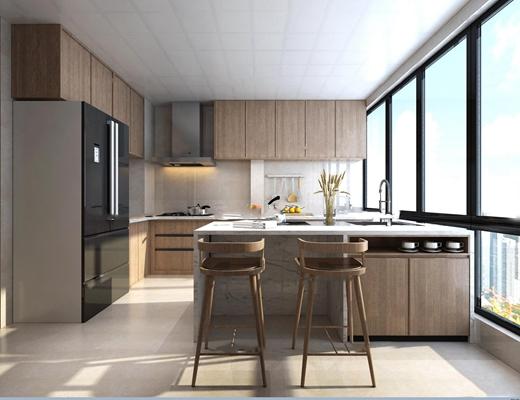 现代厨房吧台3D模型【ID:77196531】