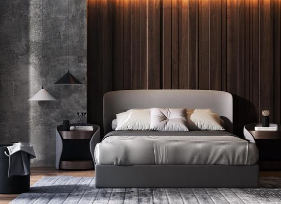 现代双人床床头柜吊灯组合3D模型【ID:77198407】