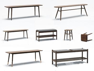 现代长凳板凳组合3D模型【ID:420830315】