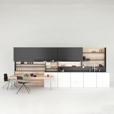 现代橱柜餐桌椅组合3d模型【ID:77200735】