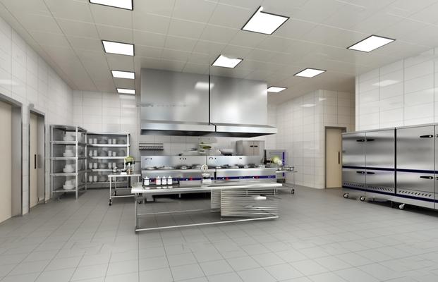 现代食堂后厨厨房工作间3D模型【ID:77201135】
