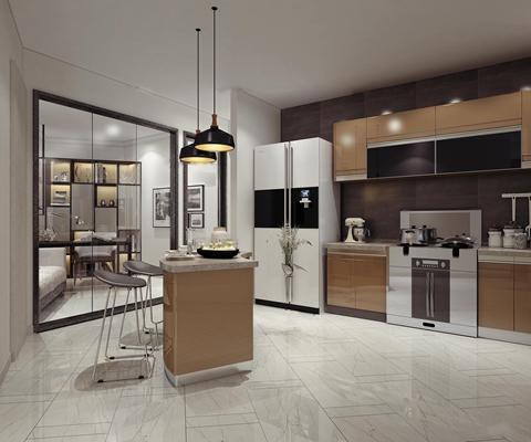 现代厨房橱柜3D模型【ID:77201431】