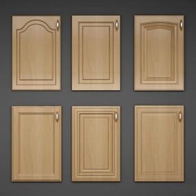 简欧实木橱柜门板组合3D模型【ID:77201954】