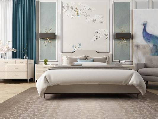 美式布艺双人床床头柜壁灯组合3D模型【ID:77203100】
