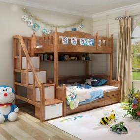 现代实木儿童上下床3D模型【ID:77203212】